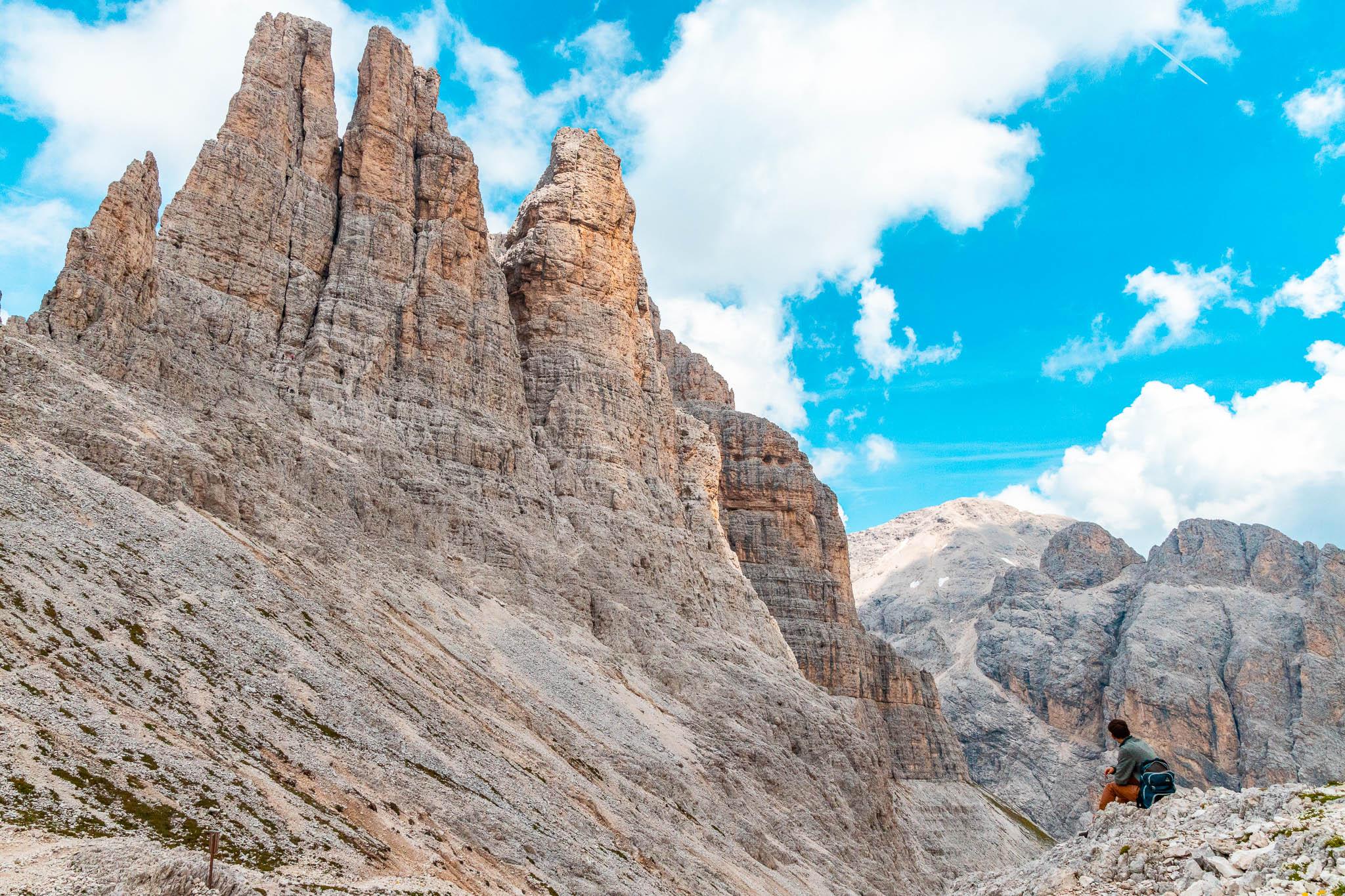 Torri del Vajolet in prossimità del Rifugio Re Alberto sulle Dolomiti della Val di Fassa
